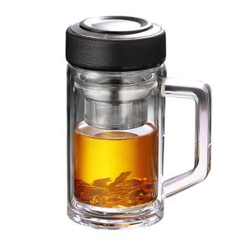 谁美口杯玻璃杯家用带把手茶杯过滤办公室水杯双层带盖泡茶杯子大容量gy