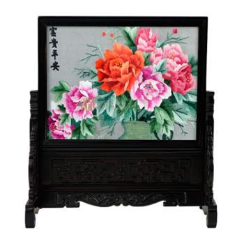 伊飞湘绣双面绣桌面摆件手工刺绣紫檀木雕花框30*30*11.5cm