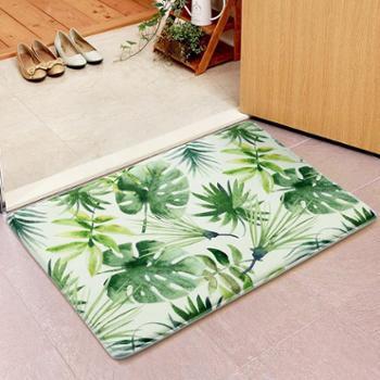 树叶地垫进门门垫绿色植物厨房长条脚垫浴室防滑垫子客厅地毯