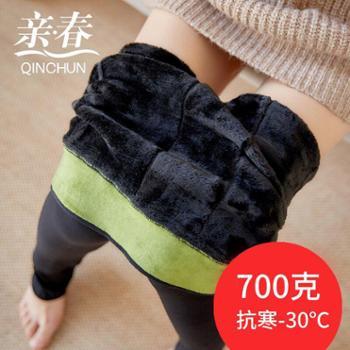 【亲春】B239冬季加绒加厚锦纶分层打底裤护腰特厚保暖修身一体裤