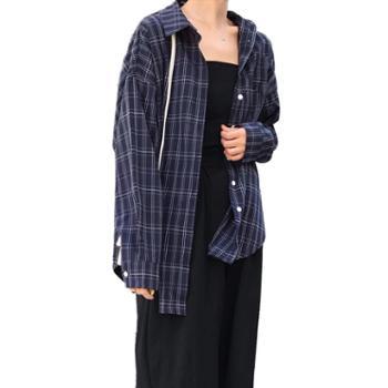 gangstains格子衬衫2019春季大码衬衣BF学生外套F65
