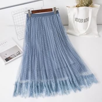 亲春2019韩版女装高腰半身裙中长款修身网纱蛋糕裙B329