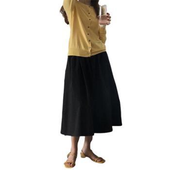 gangsta2019秋季清新流行色系半身裙中长款a字伞裙YL03