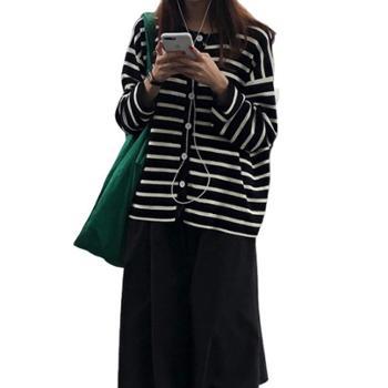 gangsta2019秋季韩版显瘦圆领条纹针织开衫外套ST06