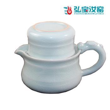 弘宝汝窑粉青釉龙头自由杯礼盒包装