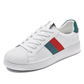 上匠风华 条纹款女子小白鞋K656