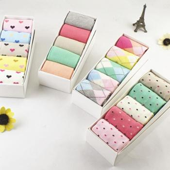 糖果色可爱舒适女士袜子全棉中筒袜纯棉袜子礼盒装集之源