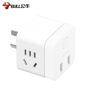 公牛小魔方插座插排带USB充电排插线板多功能拖线板无线不带线