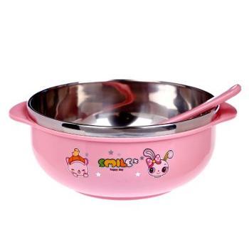 挺力婴儿不锈钢碗儿童碗防摔隔热宝宝碗儿童卡通餐具小碗三色
