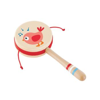 Hape新生悦动拨浪鼓手摇铃无珠波浪鼓声音柔和新生婴幼儿宝宝玩具