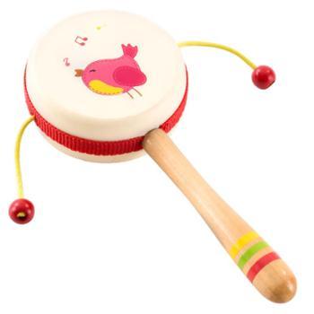 福孩儿小鸟花朵悦动木质拨浪鼓1-2岁6-12个月3宝宝益智男女孩新生儿婴儿玩具