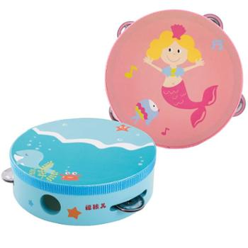 福孩儿幼儿园老师用铃鼓舞蹈婴儿童木质手拍鼓宝宝手摇手鼓玩具男孩女孩蓝色粉色