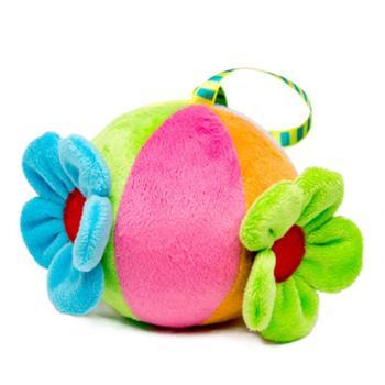 kiddyears 宝宝手抓球 视觉早教婴儿玩具毛绒铃铛感知软球六色益智