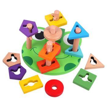 幼得乐 儿童思维几何形状配对智慧五套柱积木 宝宝早教益智玩具