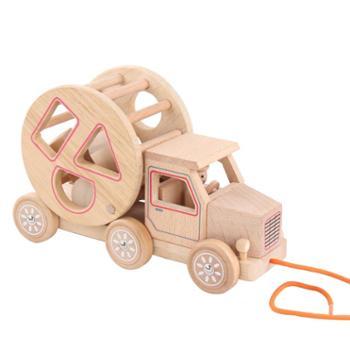 Goodcow/顶牛 幼儿童益智原木形状配对拖拉车积木玩具岁男女孩宝宝早教
