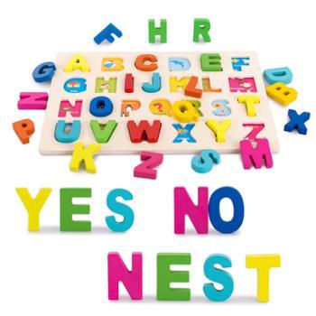 福孩儿 木质大写字母数字形状拼图
