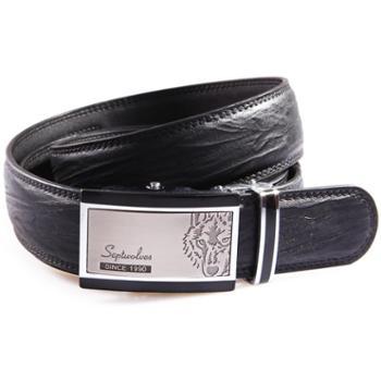 七匹狼SEPTWOLVES 男士皮带 商务系列自动扣腰带 7A1105500 黑色