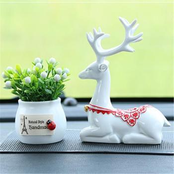 欧式鹿树脂工艺品车载香薰可爱盆栽+创意鹿摆件装饰品汽车用品
