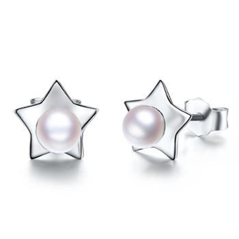 仙蒂瑞拉SANDYRILLA闪亮精致星星款4mm天然珍珠耳钉XDRL2151