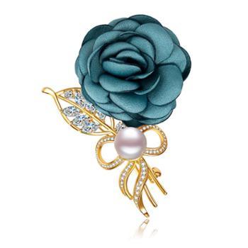 仙蒂瑞拉玫瑰9.5mm时尚淡水珍珠胸针扮美衣服配饰附证书