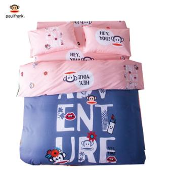 【大嘴猴(Paul Frank)】家纺100%棉(40S精梳棉)床单被套四件套