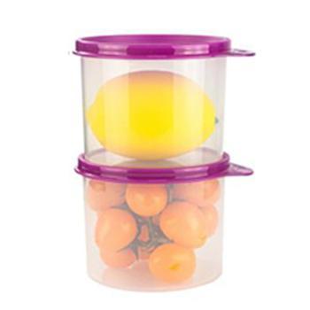 特百惠保鲜盒600ml透明密封圆罐2件套