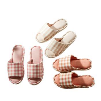 伊伊爱水洗棉拖鞋居家休闲格子棉拖鞋两双装