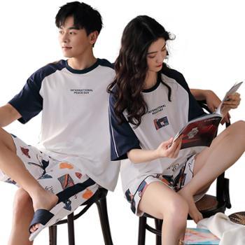 妮狄娅家居服情侣睡衣纯棉短袖短裤卡通可爱薄款可外穿套装女QF20291男QM20291