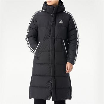 adidas阿迪达斯男子连帽防风保暖外套长款羽绒服GF0070
