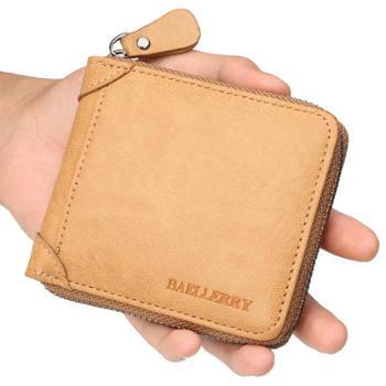 baellerry钱包男PU皮短款男式皮夹子横款钱夹休闲复古拉链零钱袋