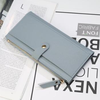 新款女士长款钱包韩版三折搭扣钱夹大容量多卡位拉链手拿包零钱包