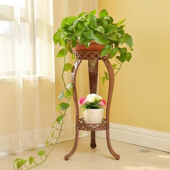 欧式铁艺花架多层绿萝吊兰客厅阳台地面室内仿实木花盆架落地花架