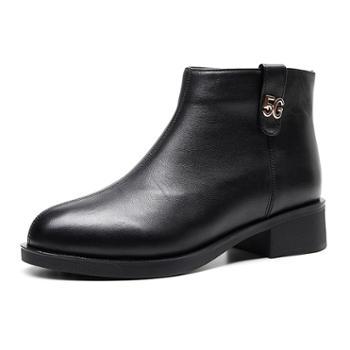 皮靴女秋冬新款圆头马丁靴真皮头层牛皮休闲短靴侧拉链靴子