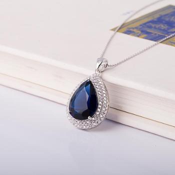 相约银饰925银项链镶嵌蓝水晶人工水滴形银链子项链坠送女友