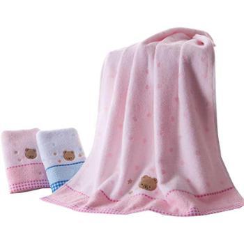 金号纯棉浴巾单条卡通小熊图案3366WH