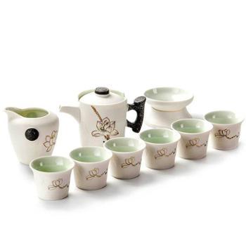 聚森 雪花荷花陶瓷功夫茶具茶具整套