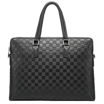 费洛新款单肩斜跨电脑包横款头层牛皮男商务公文包真皮男士手提包
