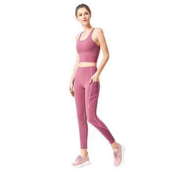 派衣阁防震聚拢健身套装双面锦纶裸感拼接侧口袋瑜伽服女两件套