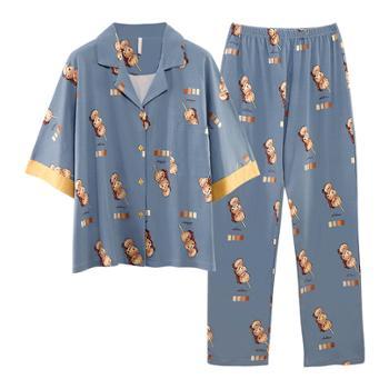 菲蜜莉睡衣女士纯棉开衫翻领韩版甜美可外穿家居服两件套