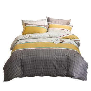 罗莱雅 全棉磨毛四件套床上用品简约风 纯棉