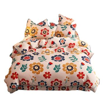 罗莱雅 法莱绒双面绒床单床笠款四件套 棉