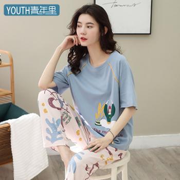 青年里韩版宽松睡衣套装全棉