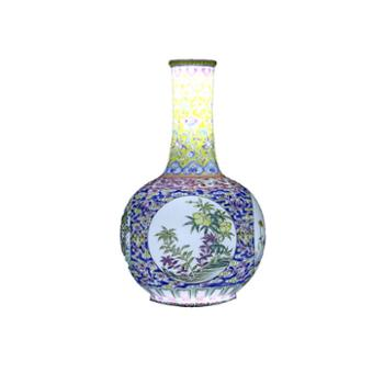 金和汇景皇家窑火仿清乾隆开光四季花卉图纸槌瓶
