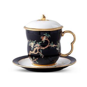 金和汇景·夫人瓷石榴家园3件套盖杯(黑色)