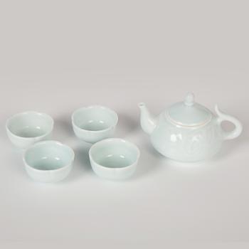 金和汇景-雅器荷花葵口茶具1壶4杯