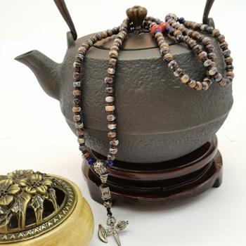 金和汇景-法门寺开光香灰瓷珠念串咖啡色
