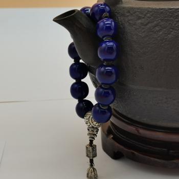 金和汇景-法门寺开光香灰瓷珠男款宝石蓝(陶瓷材质)