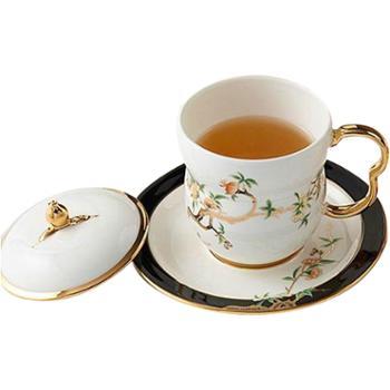 金和汇景·夫人瓷石榴家园3件套盖杯(白色)
