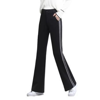 馨霓雅秋女款垂感运动喇叭裤JV8355