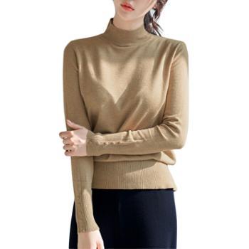 馨霓雅半高领女针织毛衣打底衫T3235